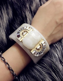 Fashion Beige Semicircle Shape Decorated Opening Bracelet