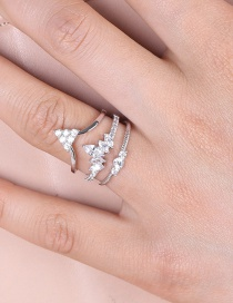 Fashion Silver Color Multi-layer Design Crown Shape Opening Ring
