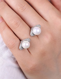 Fashion Silver Color Round Shape Decorated Opening Ring