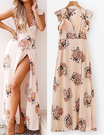 Fashion Light Pink Flower Pattern Decorated Dress
