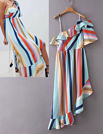Fashion Multi-color Stripe Pattern Decorated Dress