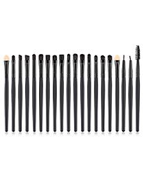 Fashion Black Pure Color Decorated Makeup Brush (20 Pcs )