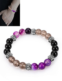 Fashion Black+purple Bead Decorated Bracelet