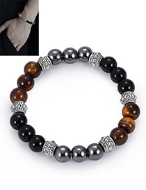 Fashion Black+_brown+silver Color Bead Decorated Bracelet