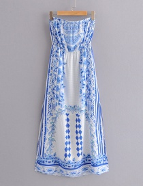Fashion Blue Flower Pattern Decorated Dress