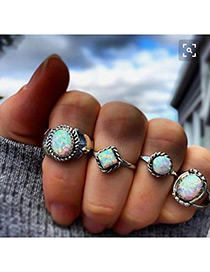 Fashion Silver Color Round Shape Decorated Ring ( 4 Pcs )