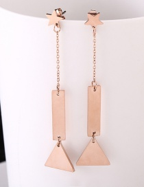 Fashion Rose Gold Star&triangle Shape Decorated Earrings