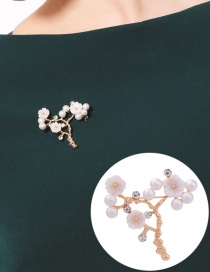 Fashion White Flower Shape Decorated Brooch