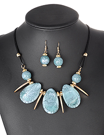 Fashion Light Blue Water Drop Shape Decorated Jewelry Set