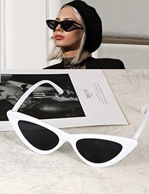 Fashion White+black Cat Eye Shape Decorated Sunglasses
