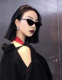 Fashion Black Cat Eye Shape Decorated Sunglasses