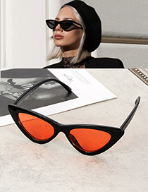 Fashion Red Cat Eye Shape Decorated Sunglasses