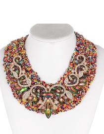 Fashion Multi-color Oval Shape Decorated Necklace