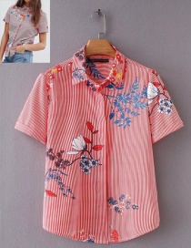 Fashion Red Flowers Pattern Decorated Short Sleeves Shirt