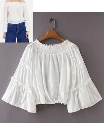 Fashion White Pure Color Design Off-the-shoulder Shirt