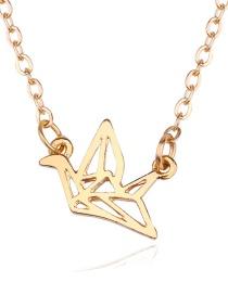 Fashion Gold Color Crane Shape Decorated Pure Color Necklace