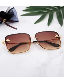 Fashion Light Brown Bees Decorated Square Shape Glasses