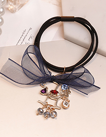 Lovely Navy Bowknot Decorated Double Layer Hair Band