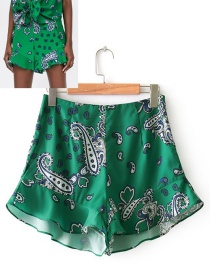 Fashion Green Flowers Pattern Decorated Simple Shorts