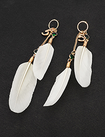 Fashion White Feather&letter Decorated Long Earrings