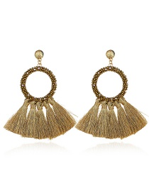 Elegant Gold Color Beads Decorated Tassel Earrings