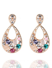 Elegant Multi-color Gemstone Decorated Hollow Out Earrings