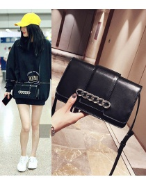 Fashion Black Chains Decorated Pure Color Shoulder Bag
