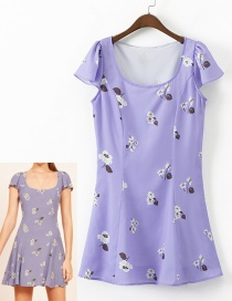 Fashion Light Purple Round Neckline Design Short Sleeves Dress Reviews