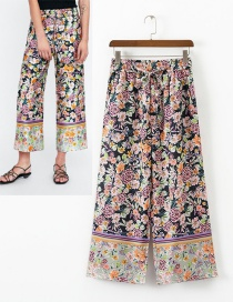 Fashion Multi-color Flower Pattern Decorated Wide-legs Pants