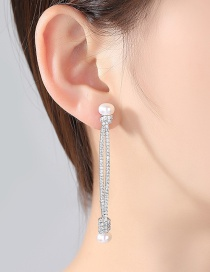 Fashion Silver Color Pearls&diamond Decorated Long Earrings
