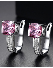 Fashion Pink Diamond Decorated U Shape Earrings