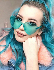 Fashion Green Heart Shape Design Pure Color Glasses