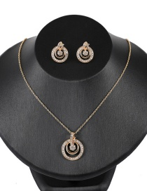 Fashion Yellow Round Shape Diamond Hollow Out Jewelry Sets