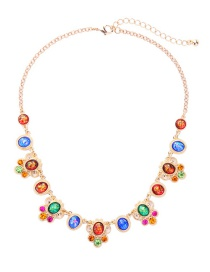 Fashion Multi-color Gemstone Decorated Color Matching Necklace