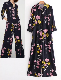 Fashion Navy Flowers Pattern Decorated Long Sleeves Dress