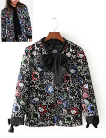 Fashion Multi-color Embroidery Flower Decorated Simple Coat