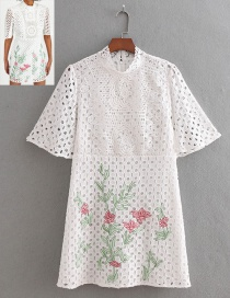 Fashion White Flowers Decorated Hollow Out Dress