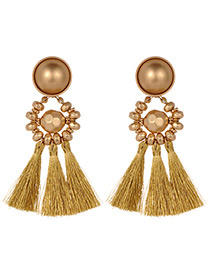 Fashion Gold Color Beads Decorated Tassel Earrings