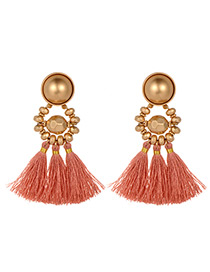 Fashion Pink Beads Decorated Tassel Earrings