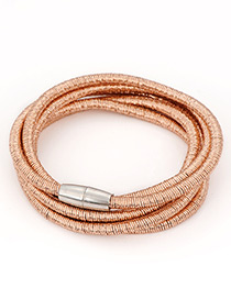 Fashion Rose Gold Pure Color Design Multi-layer Bracelet