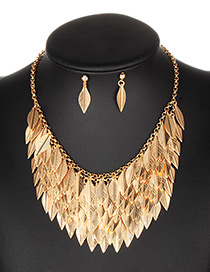 Fashion Gold Color Leaf Decorated Pure Color Jewelry Sets