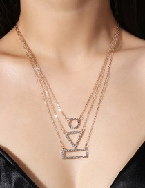 Fashion Gold Color Geometric Shape Decorated Multi-layer Necklace