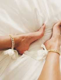 Exaggerated White Chains Decorated Bowknot Design Anklet