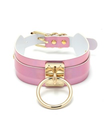 Fashion Pink Circular Ring Decorated Punk Choker