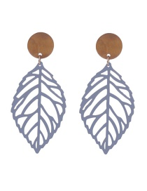 Fashion Gray Leaf Shape Design Hollow Out Earrings