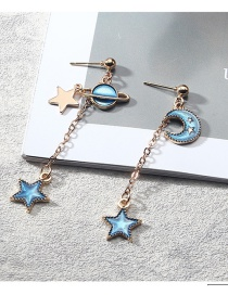 Fashion Blue Star Shape&moon Pendant Decorated Earrings