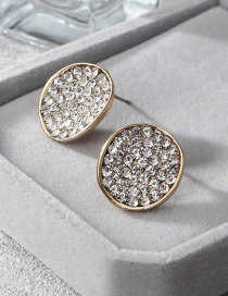 Fashion Gold Color Full Diamond Decorated Round Shape Earrings