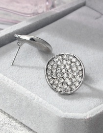 Fashion Silver Color Full Diamond Decorated Round Shape Earrings