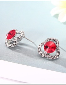 Fashion Silver Color+red Hollow Out Design Color Matching Earrings