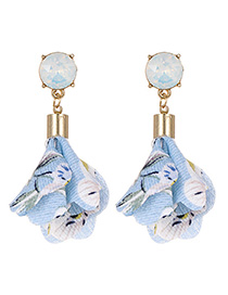 Fashion Blue Diamond&flowers Decorated Earrings